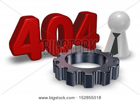 error 404 page not found - message pawn with tie and gear wheel - 3d illustration
