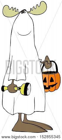 Illustration of a bull moose wearing a ghost costume for Halloween and carrying a flashlight and jack-o-lantern for treats.