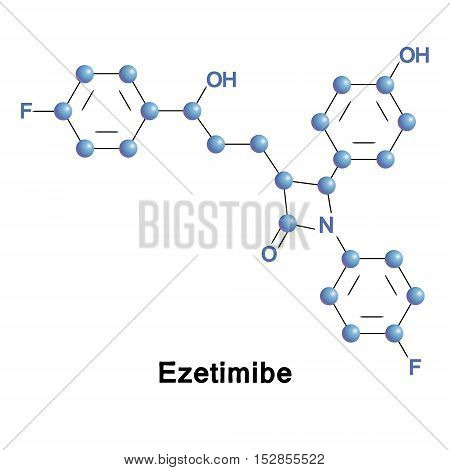 Ezetimibe is a drug that lowers plasma cholesterol levels. It acts by decreasing cholesterol absorption in the small intestine. Vector medical illustration.