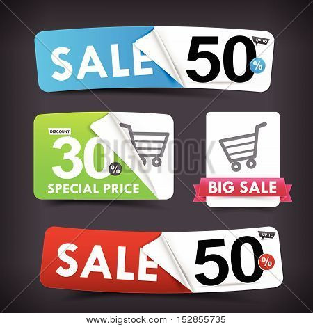 Collection of colorful web tag banner promotion sale discount style vector illustration eps10