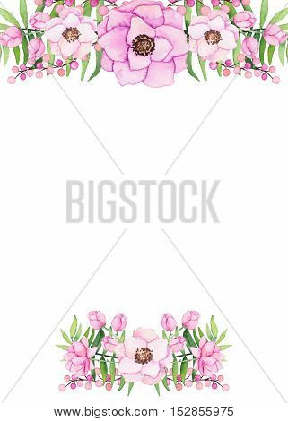 Frame with Watercolor Gentle Bouquet and Light Green Ferns