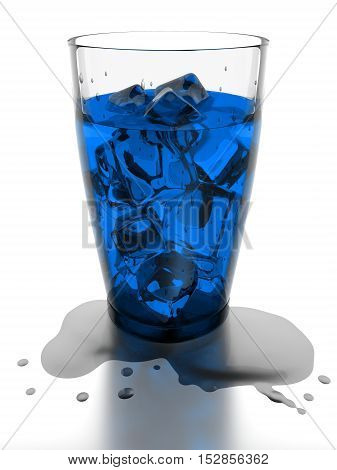 Ice cubes and blue water in drinking glass 3d rendering