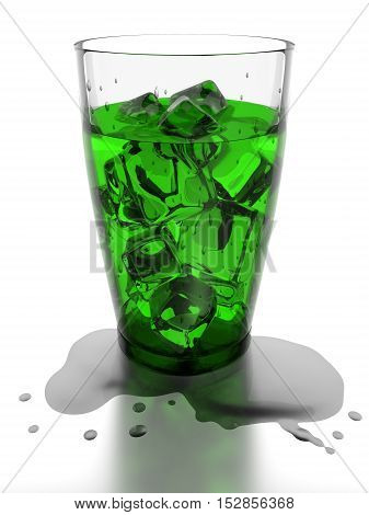 Ice cubes and green water in drinking glass 3d rendering