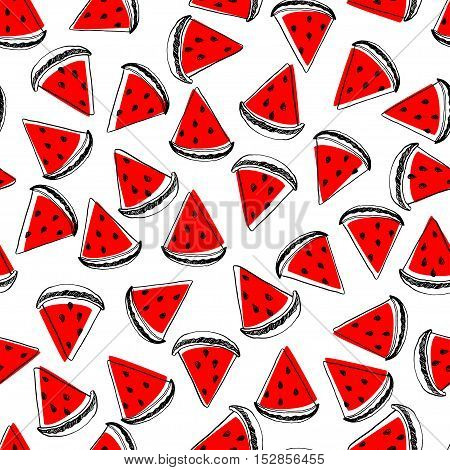 Seamless pattern with painted ink slices of watermelon. Vector illustration.