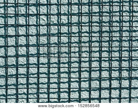 Metal Grid And Cyan Cement Wall Texture.