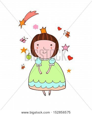 Beautiful cartoon girl in a green dress and crown. Little Princess.