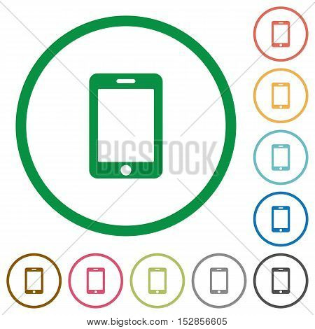 Smartphone flat color icons in round outlines
