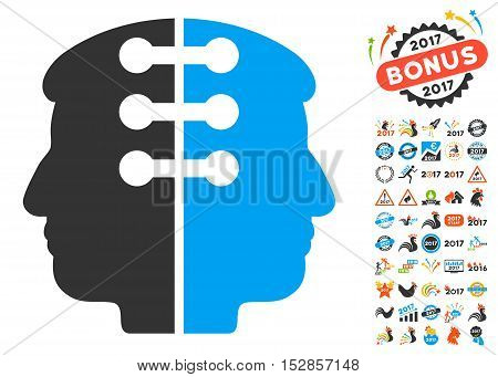 Dual Head Interface pictograph with bonus 2017 new year pictures. Vector illustration style is flat iconic symbols, modern colors, rounded edges.