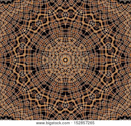 Abstract orange concentric pattern on black background