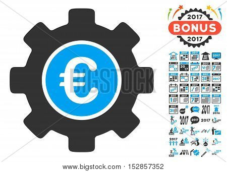 Euro Development Gear pictograph with bonus 2017 new year design elements. Vector illustration style is flat iconic symbols, modern colors, rounded edges.