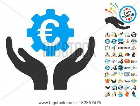 Euro Maintenance Hands pictograph with bonus 2017 new year pictograph collection. Vector illustration style is flat iconic symbols, modern colors, rounded edges.
