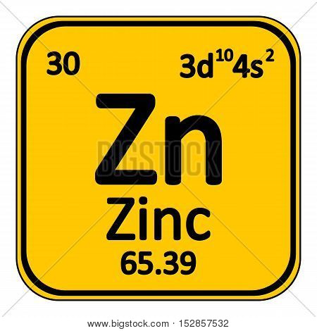 Periodic table element zinc icon on white background. Vector illustration.