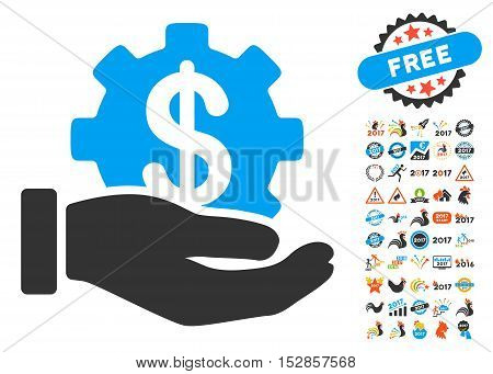 Financial Development Gear Hand icon with bonus 2017 new year pictograms. Vector illustration style is flat iconic symbols, modern colors, rounded edges.