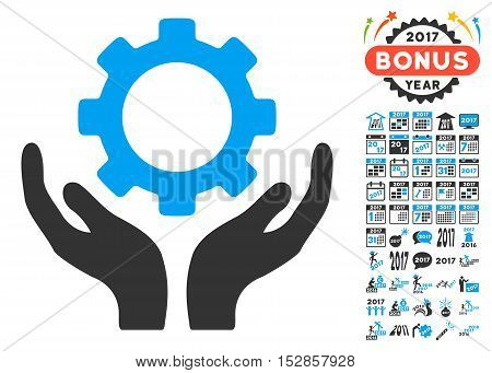 Gear Maintenance Hands icon with bonus 2017 new year images. Vector illustration style is flat iconic symbols, modern colors, rounded edges.