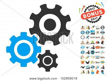 Gear Mechanism pictograph with bonus 2017 new year pictures. Vector illustration style is flat iconic symbols, modern colors, rounded edges.