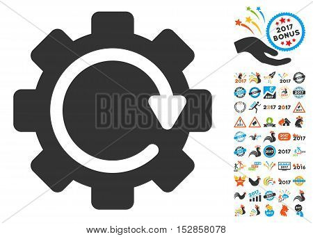 Gear Rotation Direction icon with bonus 2017 new year pictures. Vector illustration style is flat iconic symbols, modern colors, rounded edges.