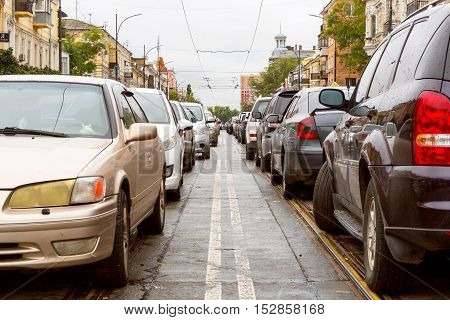 Odessa, Ukraine - October 13, 2016: Traffic Jams On The Streets Of The City, Formed After Hurricane