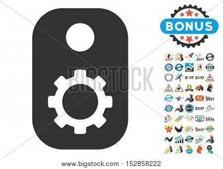 Gear Tag icon with bonus 2017 new year graphic icons. Vector illustration style is flat iconic symbols, modern colors, rounded edges.