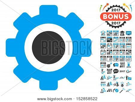 Gear pictograph with bonus 2017 new year clip art. Vector illustration style is flat iconic symbols, modern colors, rounded edges.