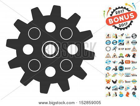 Gearwheel pictograph with bonus 2017 new year pictures. Vector illustration style is flat iconic symbols, modern colors, rounded edges.