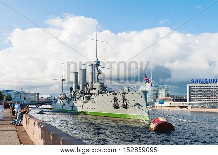 SAINT-PETERSBURG, RUSSIA - August 14, 2009. Aurora cruiser the battleship marked the beginning of Great October Communist Revolution in 1917.