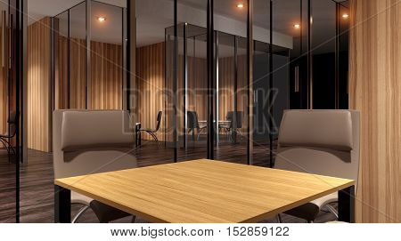 Meeting Room. The Conceptual Offices. Office Array. 3D Rendering.