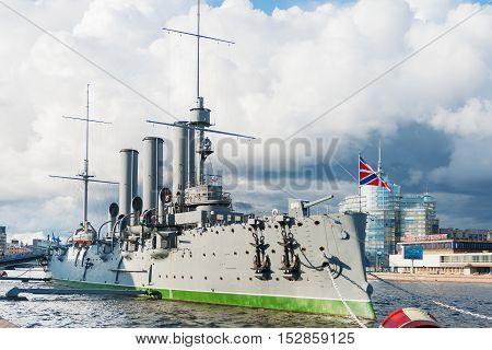 SAINT-PETERSBURG, RUSSIA - August 14, 2009. Aurora cruiser the battleship marked the beginning of Great October Communist Revolution in 1917.