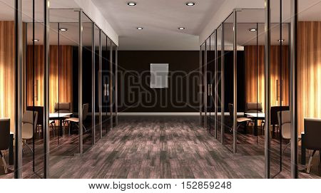 Meeting Room. Interior Of The Modern Office In The Highlands. 3D Rendering.