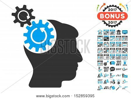 Head Cogs Rotation pictograph with bonus 2017 new year pictures. Vector illustration style is flat iconic symbols, modern colors, rounded edges.