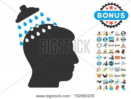 Head Shower icon with bonus 2017 new year graphic icons. Vector illustration style is flat iconic symbols, modern colors, rounded edges.