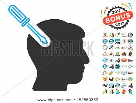 Head Surgery Screwdriver pictograph with bonus 2017 new year icon set. Vector illustration style is flat iconic symbols, modern colors, rounded edges.