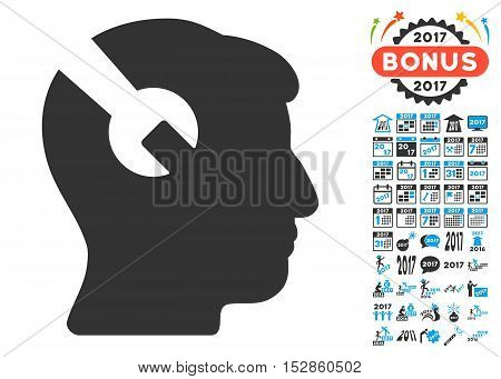 Head Surgery Wrench icon with bonus 2017 new year icon set. Vector illustration style is flat iconic symbols, modern colors, rounded edges.