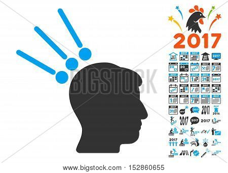Head Test Connectors icon with bonus 2017 new year graphic icons. Vector illustration style is flat iconic symbols, modern colors, rounded edges.