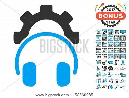 Headphones Configuration Gear pictograph with bonus 2017 new year images. Vector illustration style is flat iconic symbols, modern colors, rounded edges.