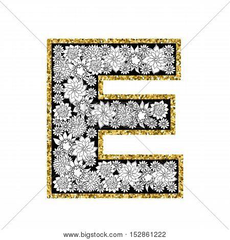 Hand drawn floral alphabet design. Gold glittering contour. Letter E. Vector EPS8 illustration.