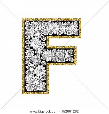 Hand drawn floral alphabet design. Gold glittering contour. Letter F. Vector EPS8 illustration.