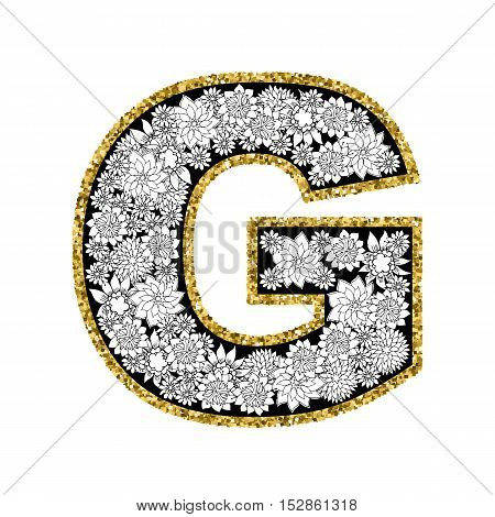 Hand drawn floral alphabet design. Gold glittering contour. Letter G. Vector EPS8 illustration.