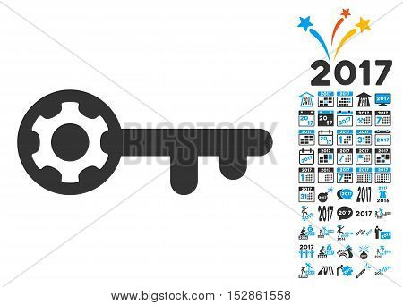 Key Options icon with bonus 2017 new year graphic icons. Vector illustration style is flat iconic symbols, modern colors, rounded edges.