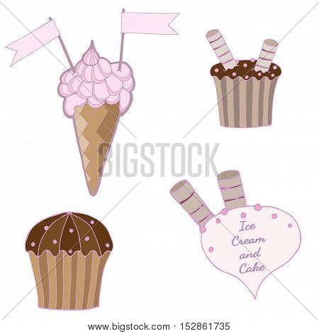 Set with ice cream and cake of stickers pins patches in cartoon. Vector illustration isolated on white background.