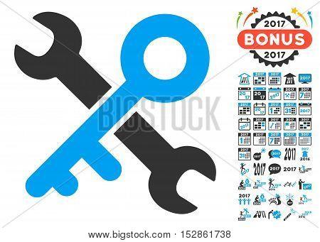 Key Tools icon with bonus 2017 new year design elements. Vector illustration style is flat iconic symbols, modern colors, rounded edges.