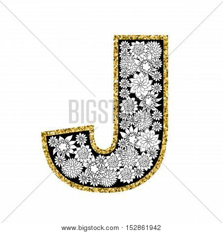 Hand drawn floral alphabet design. Gold glittering contour. Letter J. Vector EPS8 illustration.