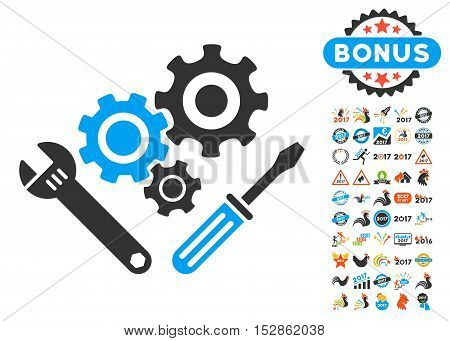 Mechanics Tools icon with bonus 2017 new year symbols. Vector illustration style is flat iconic symbols, modern colors, rounded edges.