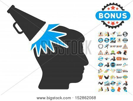 Megaphone Impact Head pictograph with bonus 2017 new year design elements. Vector illustration style is flat iconic symbols, modern colors, rounded edges.