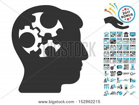 Mind Gears pictograph with bonus 2017 new year graphic icons. Vector illustration style is flat iconic symbols, modern colors, rounded edges.