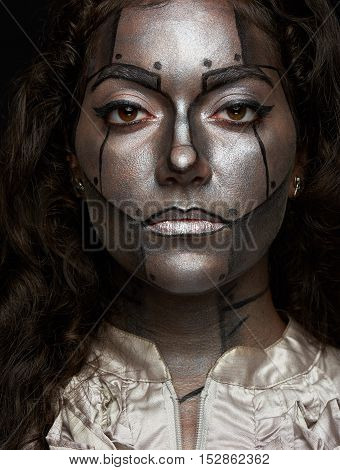 Silver Metal Women Face