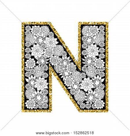 Hand drawn floral alphabet design. Gold glittering contour. Letter N. Vector EPS8 illustration.