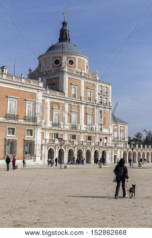 Aranjuez Spain - October 16 2016: Royal Palace of Aranjuez located in the Royal Site and town of Aranjuez world heritage site unesco Madrid province Spain