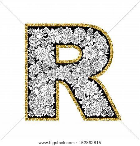 Hand drawn floral alphabet design. Gold glittering contour. Letter R. Vector EPS8 illustration.
