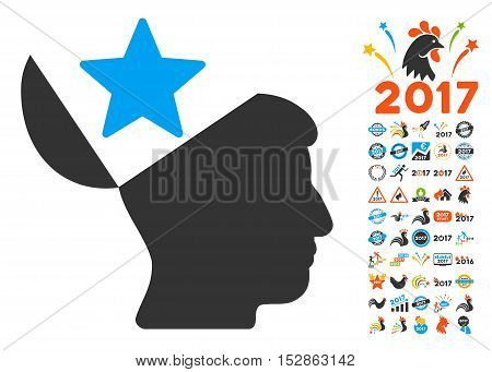 Open Head Star icon with bonus 2017 new year design elements. Vector illustration style is flat iconic symbols, modern colors, rounded edges.