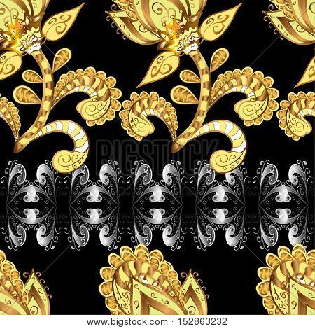 Vintage pattern on black background with golden and silver elements